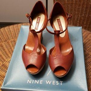 "Nine West ""Aggie"" wedge peep toe sandals  6"
